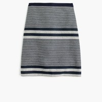 Petite A-line skirt in striped navy tweed