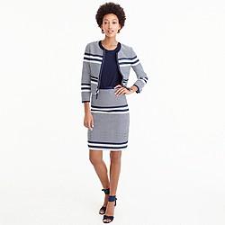 Petite A-line skirt in striped navy tweed