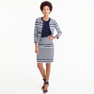 Tall A-line skirt in striped navy tweed