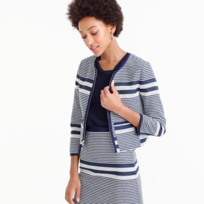 Petite jacket in striped navy tweed