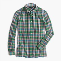 Gathered popover shirt in vintage plaid