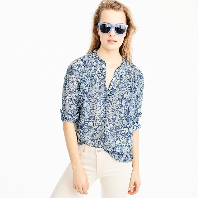 Petite ruffle popover shirt in mermaid print