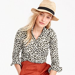 Petite cotton-linen perfect shirt in leopard print