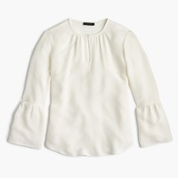 Silk bell-sleeve top