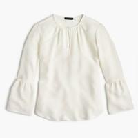 Petite silk bell-sleeve top