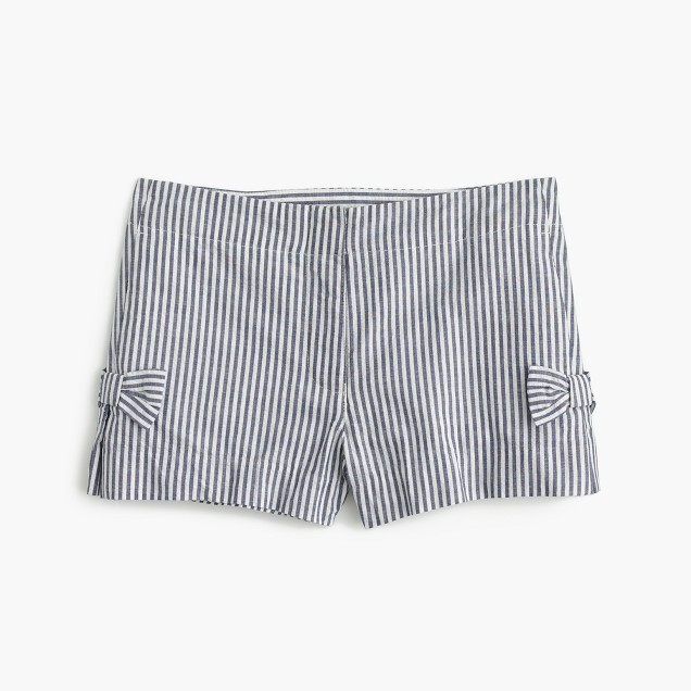 Girls' bow short in seersucker