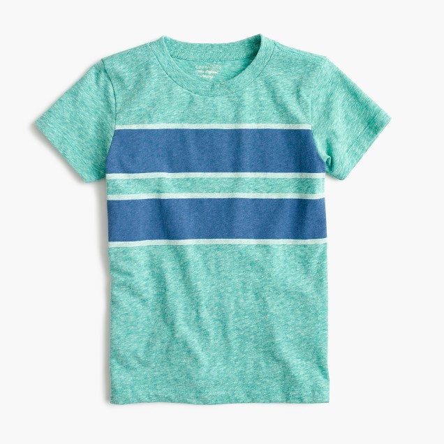 Boys' heather double-stripe T-shirt in the softest jersey