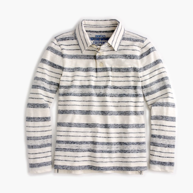 Boys' long-sleeve heather-striped polo