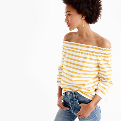 Striped long-sleeve off-the-shoulder top