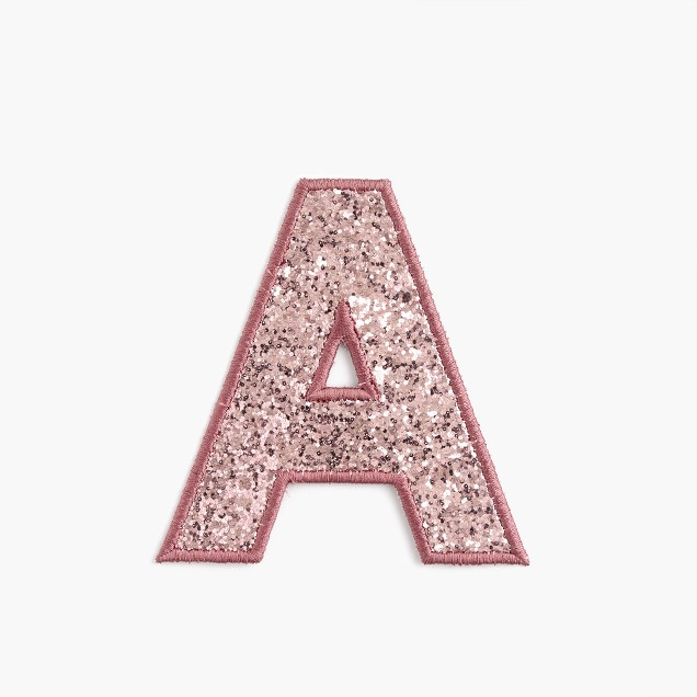 Girls' glitter initial patch