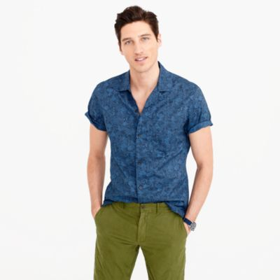 Short-sleeve camp-collar shirt in tonal sea print