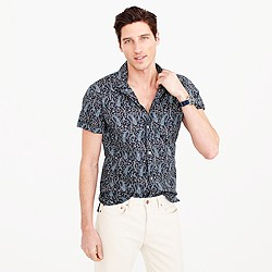 Short-sleeve camp-collar shirt in paisley