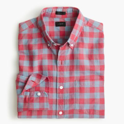 Slim cotton-linen shirt in gingham
