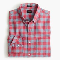 Slim cotton-linen shirt in gingham