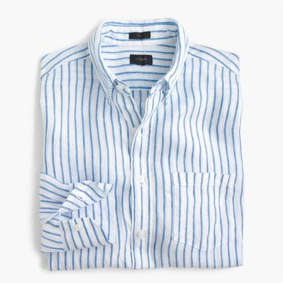 Slim linen shirt in wide stripe