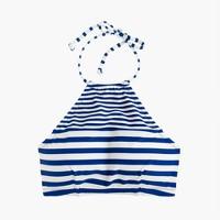 Cropped halter bikini top in mixed stripe
