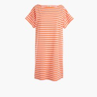 Short-sleeve striped cotton dress