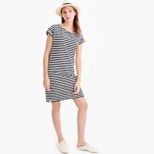 Short-sleeve striped cotton dress