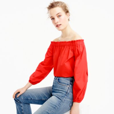 Petite long-sleeve off-the-shoulder top