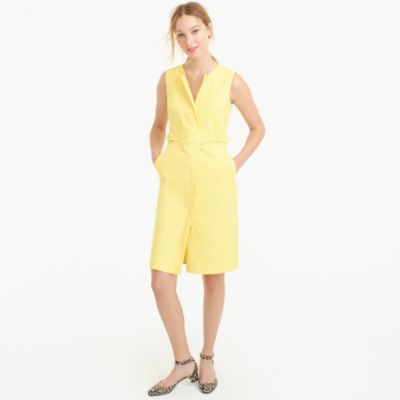 Petite zip-front sleeveless dress