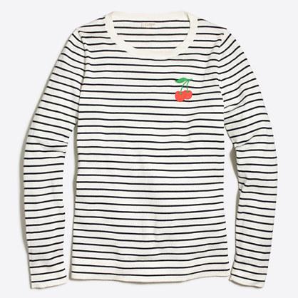 Embroidered cherry striped Teddie sweater