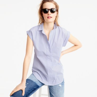 Tall short-sleeve popover in shirting stripe