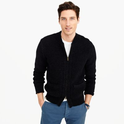 Full-zip indigo sweater