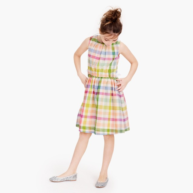 Girls' dress in oversized rainbow gingham