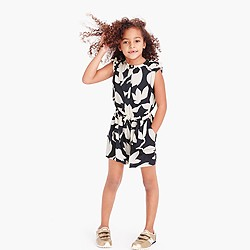 Girls' drapey floral romper