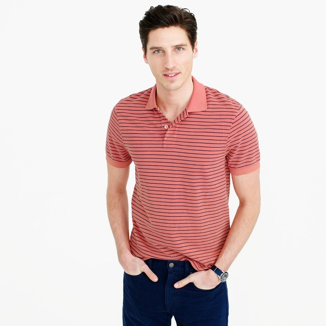Classic piqué polo shirt in thin stripe