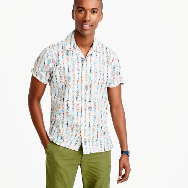 Gitman Vintage™ camp-collar shirt in fish print