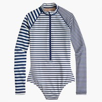 Long torso long-sleeve one-piece in mixed stripe