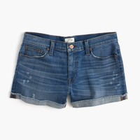 Denim paint-splattered short