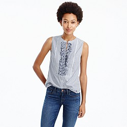 Petite Striped top with gingham bib