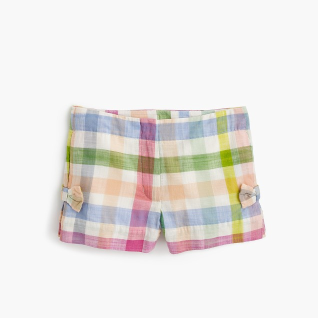 Girls' bow short in oversized rainbow gingham