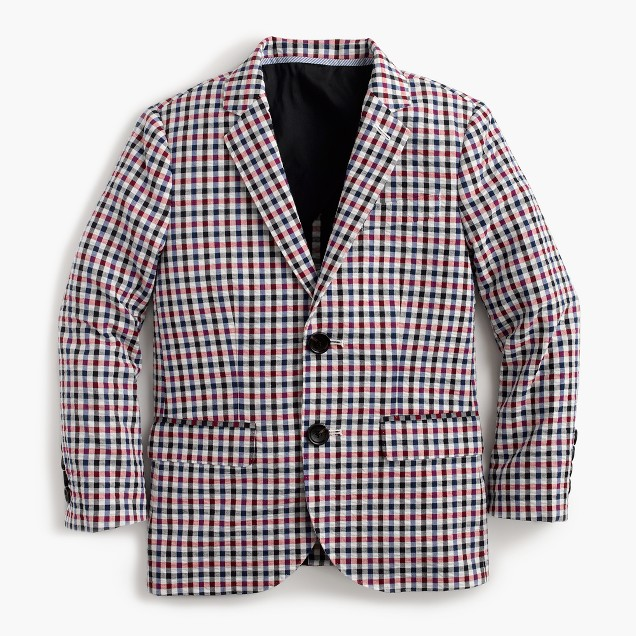 Boys' Ludlow suit jacket in puckered gingham