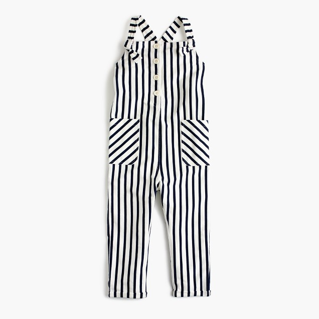 Girls' striped knit overalls