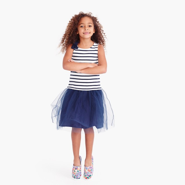 Girls' tulle striped tank dress