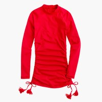 Ruched rash guard with tassels