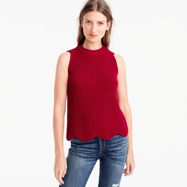 Scalloped knit sweater shell