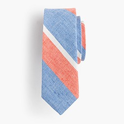 Boys' linen-cotton tie in spring stripe