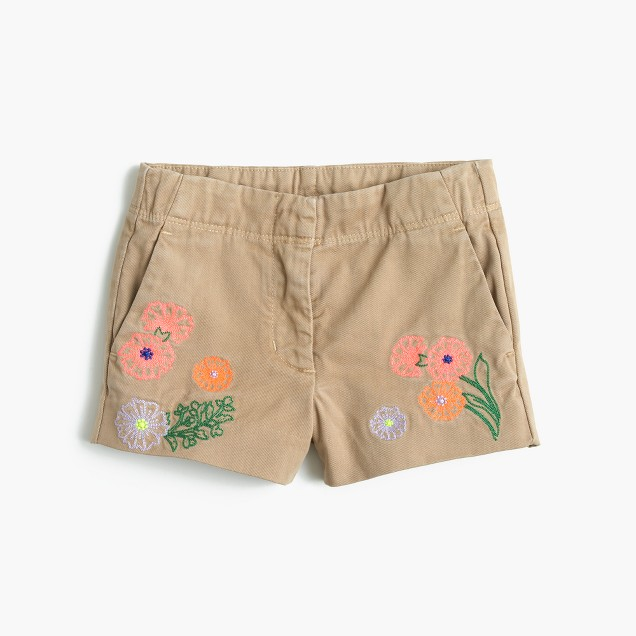 Girls' Frankie short in embroidered flowers