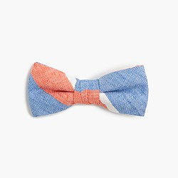 Boys' linen-cotton bow tie in spring stripe