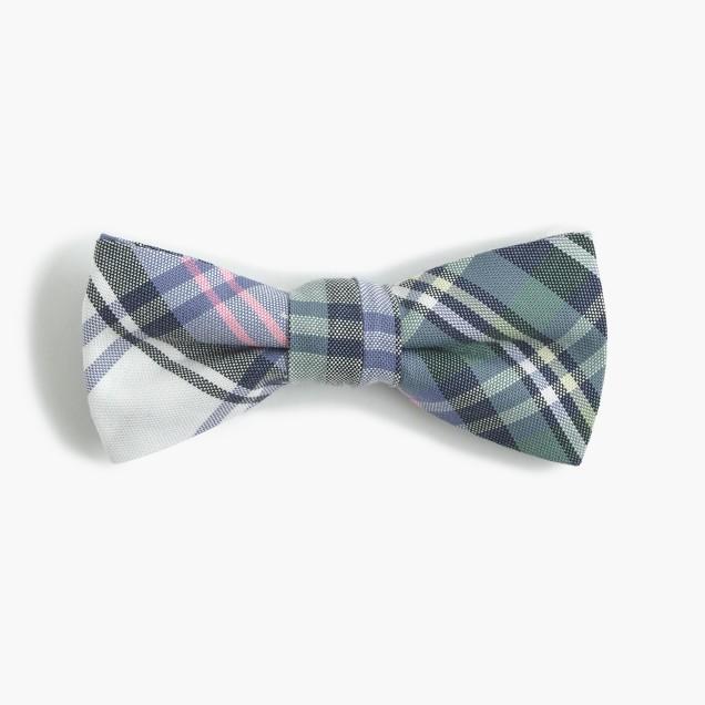 Boys' linen-cotton bow tie in blue plaid