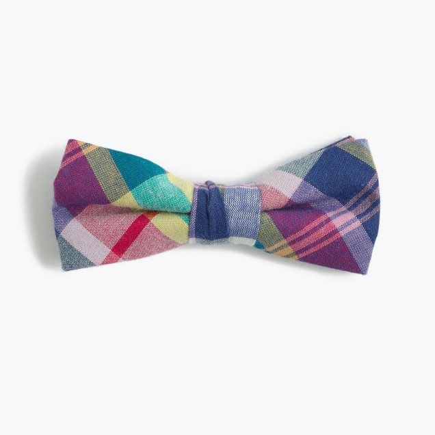 Boys' cotton bow tie in madras