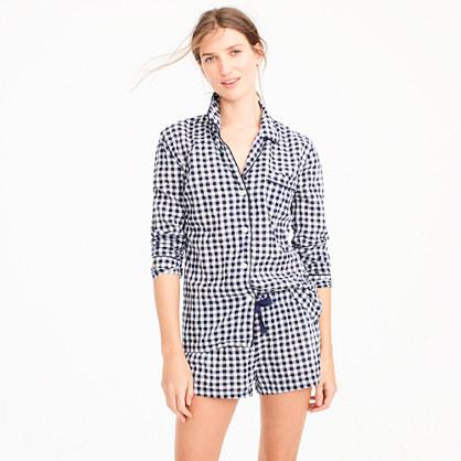 Cotton pajama set in gingham