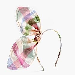 Girls' giant bow headband in gingham