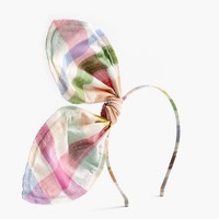 Girls' giant bow headband in gingham