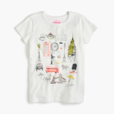 "Girls' ""London"" destination art T-shirt"