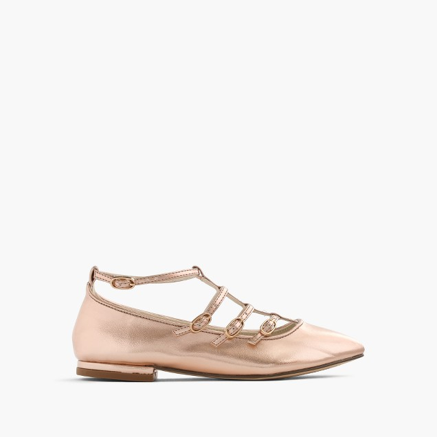 Girls' metallic multistrap ballet flats